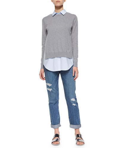 Deverlyn Knit/Poplin Combo Top & Tatiyana Destroyed Straight-Leg Jeans
