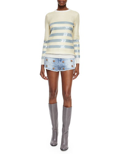 Cashmere Sweater with Striped Sequin Embroidery & Stretch Denim Short