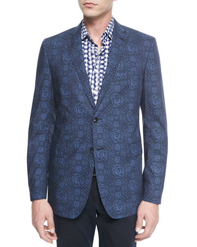 Floral-Print Two-Button Blazer & Long-Sleeve Geo-Dot-Print Sport Shirt