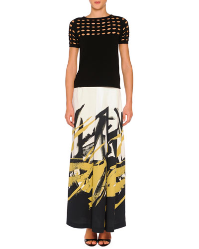 Circle Cutout Lace T-Shirt & Brushstroke-Print Pleated Long Skirt