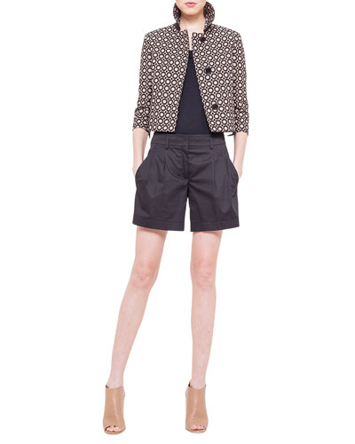 Punto Embroidered Boxy Jacket, Scoop-Neck Jersey T-Shirt & Miata Pleated Slash Pocket Shorts