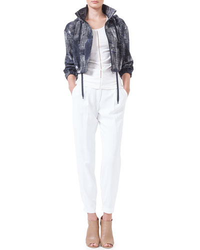 Hooded Pixel-Print Bolero Jacket, Hemstitched Jersey Tank Top & Mimi Tapered Ankle Pants