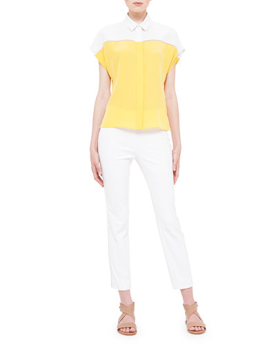 Cap-Sleeve Colorblock Hemstitch Blouse & Franca Side-Hemstitch Pants