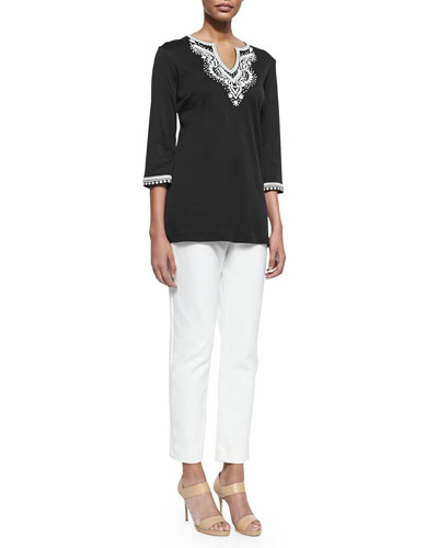 3/4-Sleeve Embroidered Tunic & Ponte Slim Ankle Pants