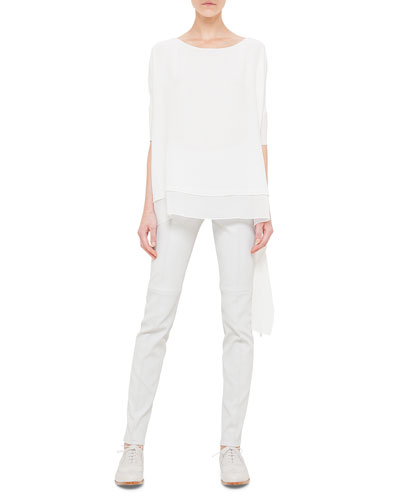 Rectangle Panel Silk Georgette Tunic & Napa Stretch-Leather Slim Pants