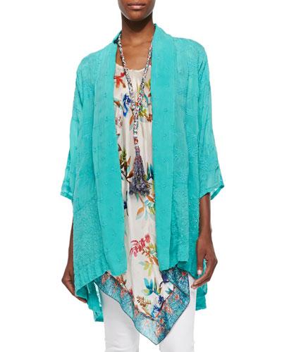 Meadow Eyelet Kimono Jacket, Hummingbird Silk Georgette Long Tunic & Eli Braided Fringe Necklace, Women's