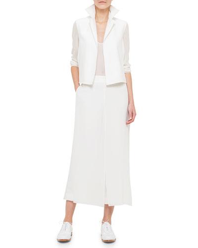 Georgette-Sleeve Linen Short Jacket, Scoop-Neck Bicolor Top & Overlay Wide-Leg Ankle Pants