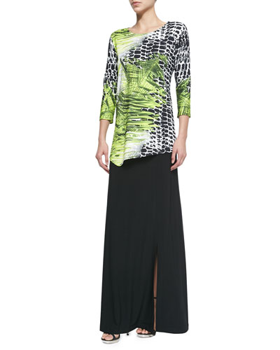 Crocodile Twist 3/4-Sleeve Top & Stretch Knit Maxi Skirt