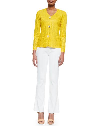 Textured 3-Button Jacket & Boot-Cut Knit Pants, Women's