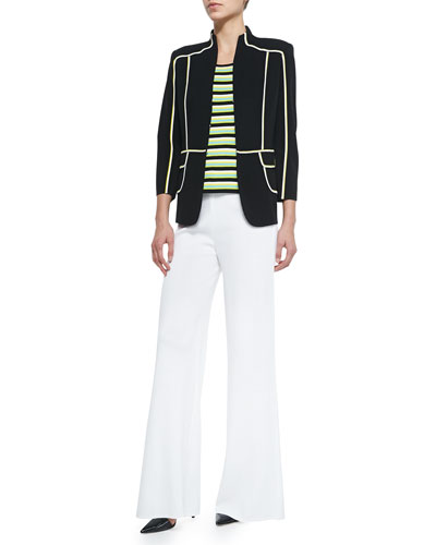 Pipe-Detail Jacket, Striped Scoop-Neck Tank & Washable Wide-Leg Pants, Petite