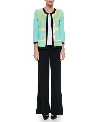 Beaded 3/4-Sleeve Jacket W/ Tipping, Scoop-Neck Knit Tank & Washable Wide-Leg Pants, Petite