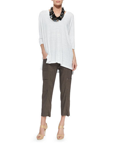 Linen V-Neck Boxy Tunic & Drawstring Cropped Cargo Pants, Women