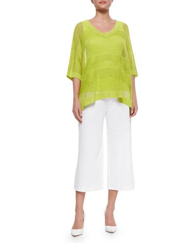 Mesh Striped Sweater, Cotton Rib Tank & Knit Cropped Wide-Leg Pants, Women's