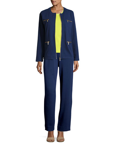 Stretch Interlock Zip-Front Jacket, Sequined Trim Tank & Full-Length Jog Pants, Petite