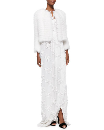 Patent Tab-Detailed Fur Jacket & Floral-Lace Overlay Dress