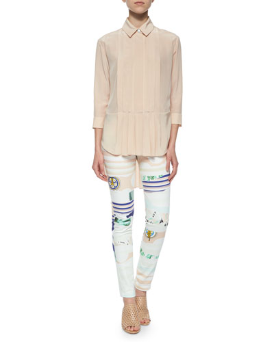 Pintucked Crepe de Chine Blouse & Mixed-Print Skinny Pants