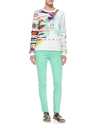 Striped Flowers Logo Sweatshirt & Stretch-Twill Skinny Pants