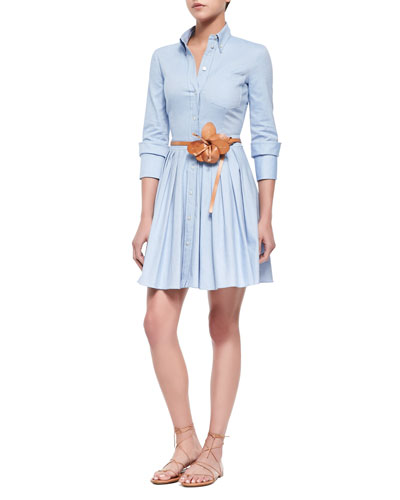 Oxford Double-Cuff Shirtdress & Flower-Detailed Skinny Leather Belt