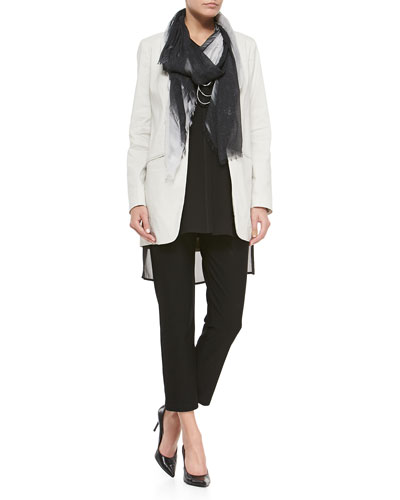 Eileen Fisher Long Polished Ramie Jacket, Silk Long