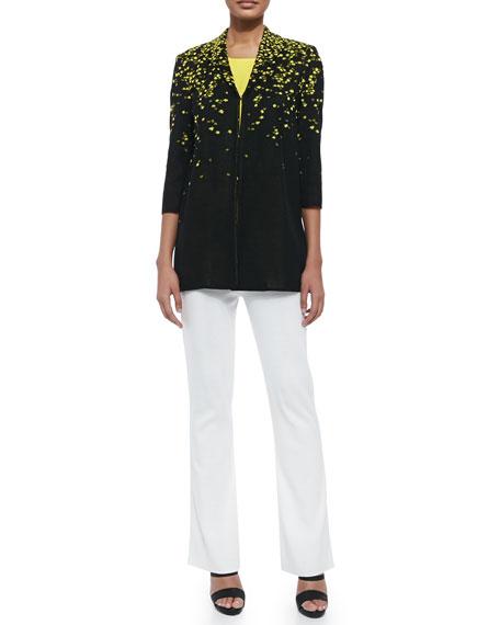 3/4-Sleeve Speckled-Shoulder Long Jacket