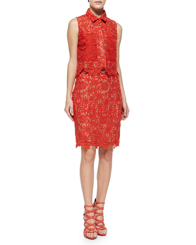 Cisco Sleeveless Floral Lace Top & Helen Floral-Lace Pencil Skirt