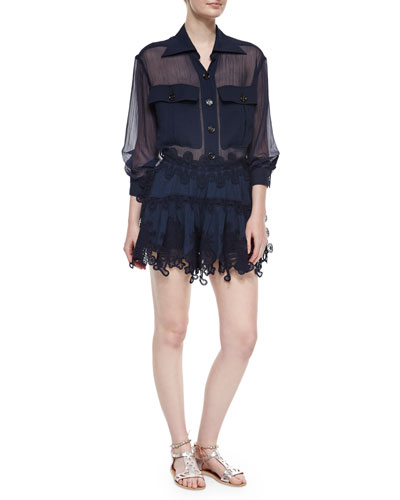 Sheer Paneled Button-Front Blouse & Peacock-Embroidered Lace Mini Skirt