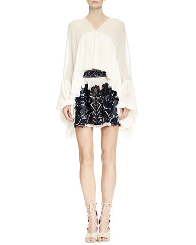 Full-Sleeve Flounce Blouse & Folkloric Patched Lace Skirt