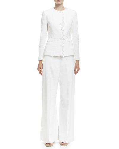 Button-Front Ruffle-Trimmed Jacket & High-Waist Wide-Leg Pants