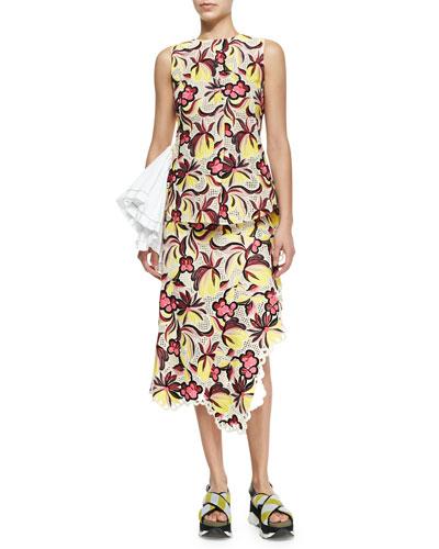 Floral-Print Godet Ruffle Top & Floral-Print Eyelet Trim Asymmetric Skirt