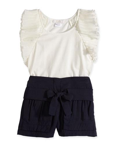 Chloe Sleeveless Jersey Tank & Pleated Shorts