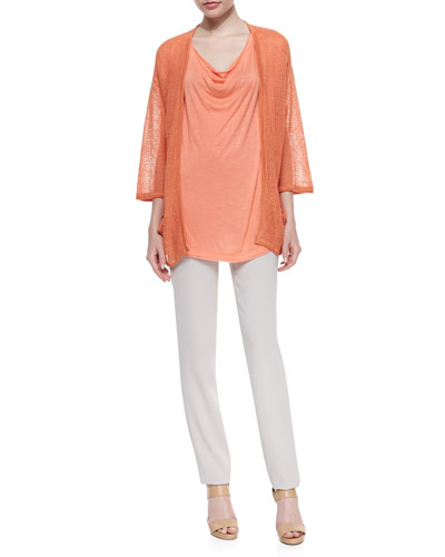 Mesh-Stitch Open Cardigan, Cowl-Neck Short-Sleeve Tee & Skinny Side-Zip Pants