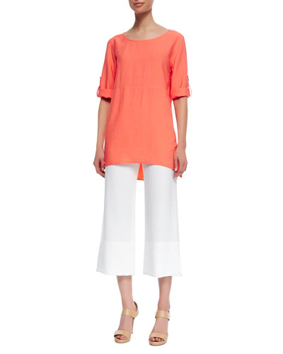 Cabo Crinkled Long Tabbed-Sleeve Tunic & Cabo Crinkle Beach Capri Pants