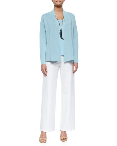 Silk Cotton Interlock Jacket, Stretch Silk Jersey Tank & Wide-Leg Stretch-Crepe Pants, Petite