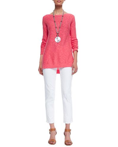Eileen Fisher Long-Sleeve Slub Top & Stretch Boyfriend