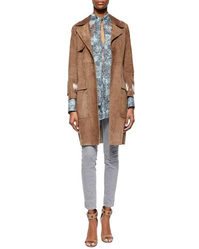 Suede Contrast Fringe-Trimmed Coat, Tie-Neck Charmeuse Blouse & Zip-Pocket Skinny Jeans