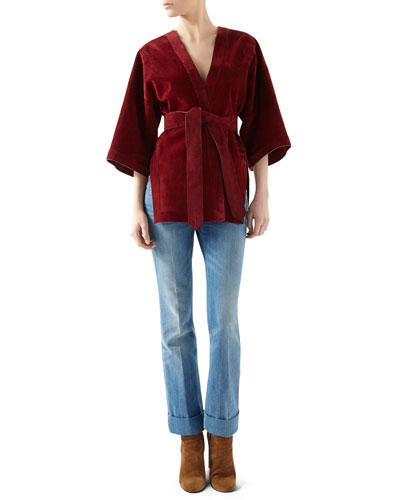 Suede Belted Wrap Jacket & Washed Denim Skinny Flare Pant