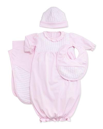 Sweet Moments Pinkk Gown, Hat, Bib & Blanket