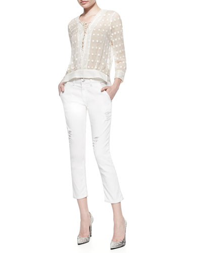 Oltane Sheer Dotted Lace-Up Top & Nariane Mid-Rise Distressed Jeans