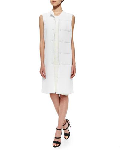 Mallory Twill Welt-Pocket Vest & 3D Pools Embossed Tank Dress