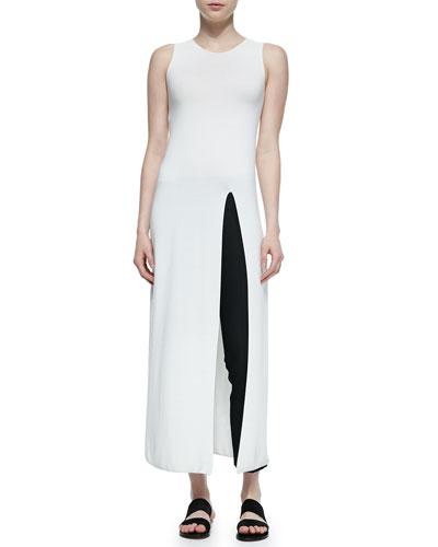 Erine High-Slit Long-Sleeve Dress & Soroc No-Waist Side-Zip Pants