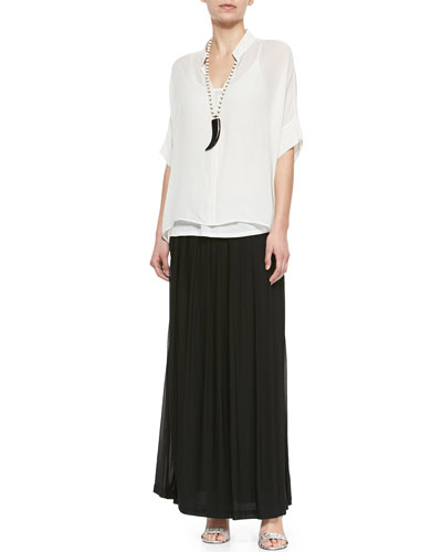 3/4-Sleeve Silk Box Top & Silk Pleated Maxi Skirt, Women's