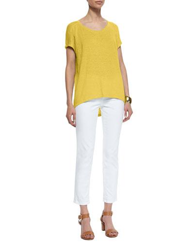 Organic Linen Jersey Cap-Sleeve Top & Stretch Boyfriend Jeans, Petite