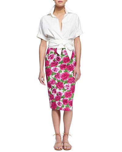 Short-Sleeve Wrap-Front Blouse & Peony-Print Knee-Length Pencil Skirt