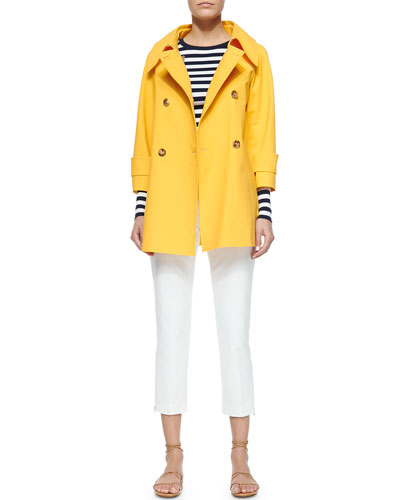Double-Breasted Raincoat, Striped Ribbed Long-Sleeve Tee & Zip-Detailed Skinny Ankle Pants