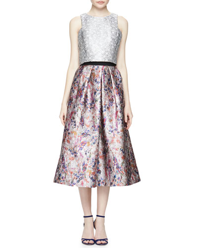 Sleeveless Metallic Jacquard Crop Top & Floral-Print Jacquard Ball Skirt