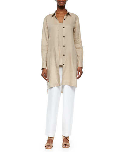 Long-Sleeve Linen Duster, Linen Scoop-Neck Tank & Straight-Leg Lined Linen Pants, Petite