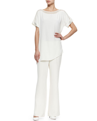 Silk Boat-Neck Easy Tunic & Full-Leg Pull-On Pants, Petite