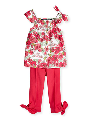 Sleeveless Tropical-Print Poplin Blouse & Pique-Knit Pants w/ Bow Detail