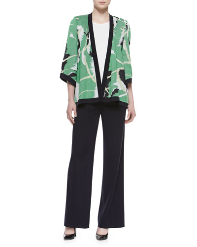 Abstract Printed Open Jacket, Scoop-Neck Knit Tank & Washable Wide-Leg Pants, Petite