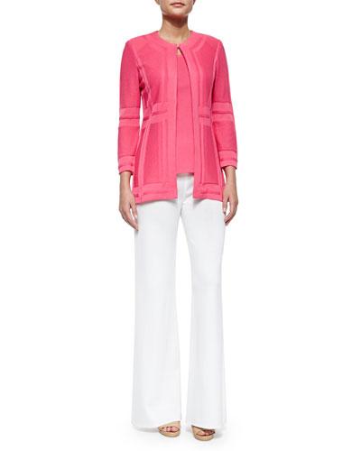 Paneled Knit Jacket, Sleeveless Long Tank & Washable Wide-Leg Pants